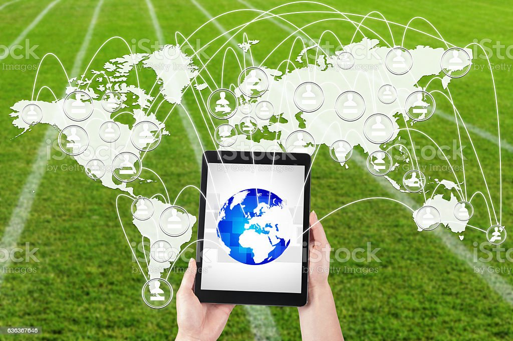 Management tablet's global network. stock photo