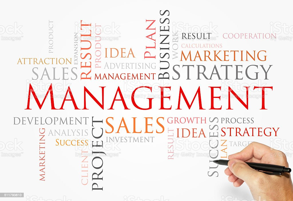 Management word cloud, business concept stock photo