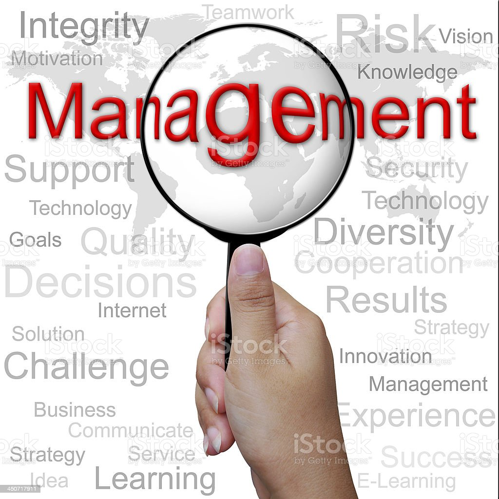 Management, word in Magnifying glass ,business background royalty-free stock photo