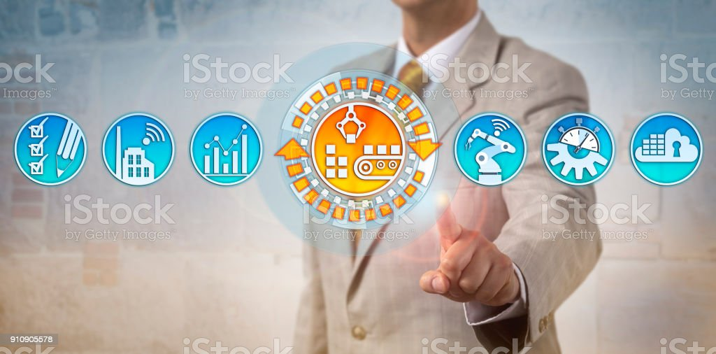 Manager Activating Automated Conveyor System stock photo