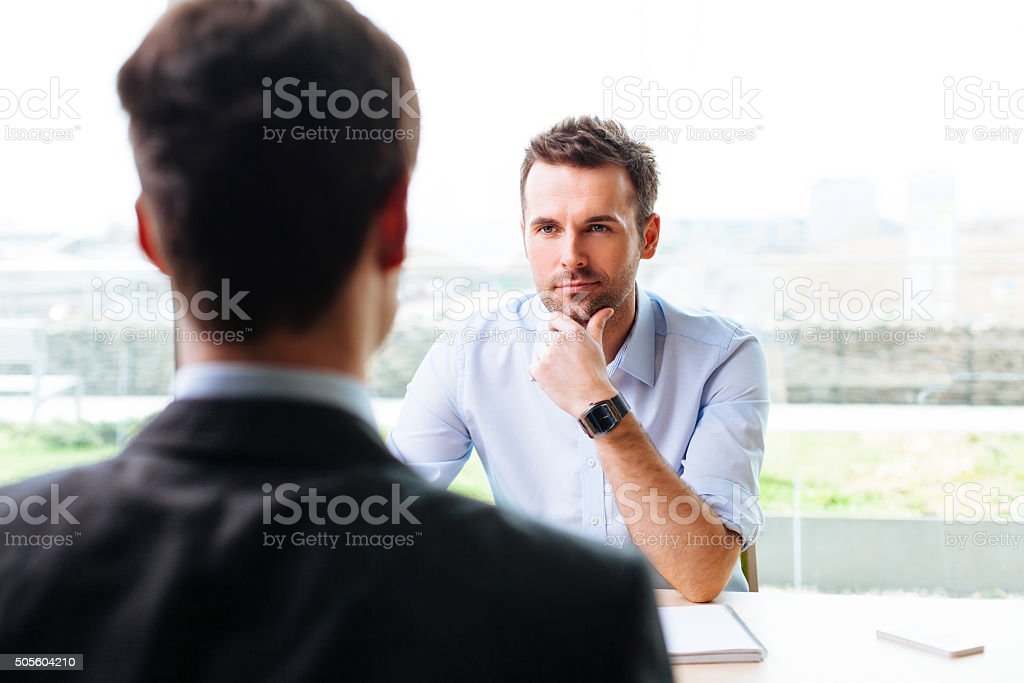 Manager and a candidate in a job interview stock photo