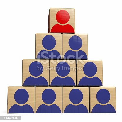 Leadership Human Resource Management and Recruitment Concept. Manager Wood Cube on Top of Workforce Team Structure. 3D Illustration.