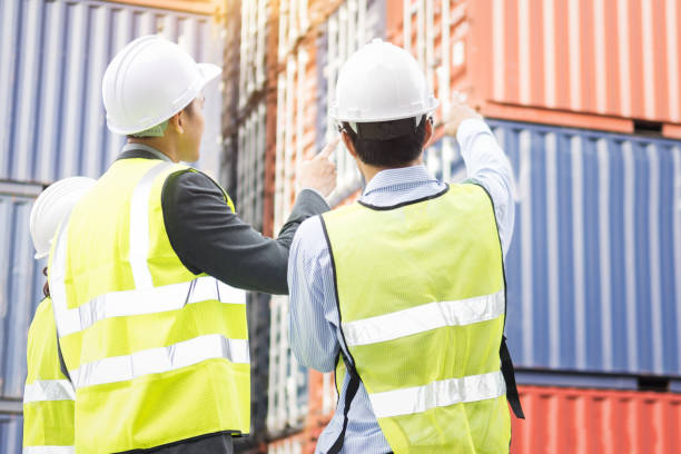 manager and foreman in the Warehouse shipping transportation stock photo