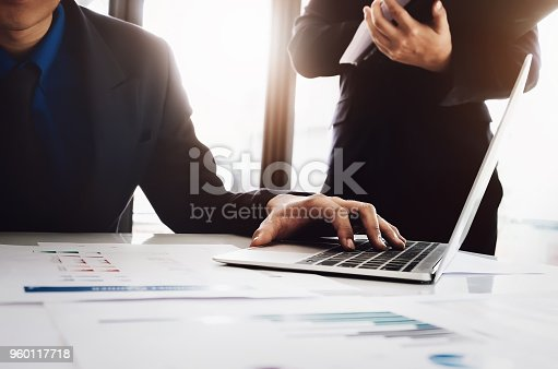 950986656istockphoto Manager and secretary The company is analyzing and examining its budget and evaluating its profitability this year. 960117718