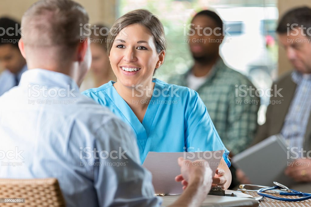 Manager at hospital  interviewing potential nursing staff healthcare worker royalty-free stock photo