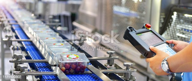 Manager check and control automation Food products boxs transfer on Automated conveyor systems in factory