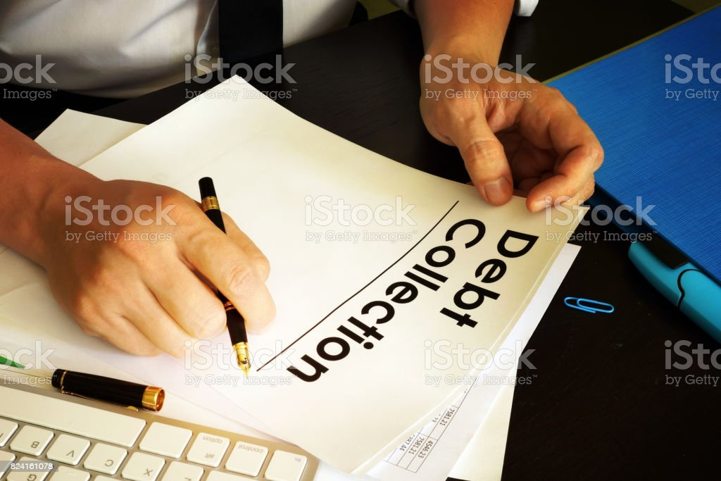 Manager is holding Debt collection. stock photo