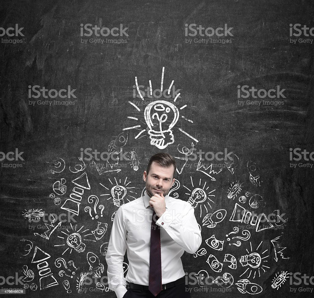 manager is thinking about new business ideas. stock photo