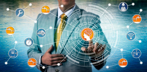 Manager Monitoring Smart Water Grid Via AI And IoT stock photo