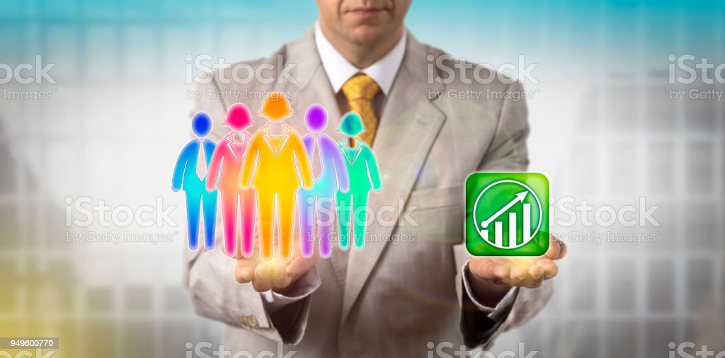 Manager Motivating Cultural Diverse Work Team stock photo