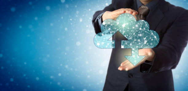 manager offering cloud containing connected nodes - infinity stock photos and pictures