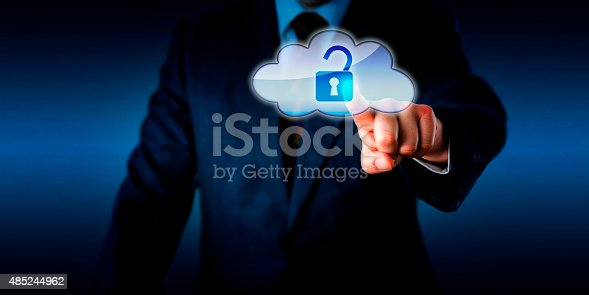 488497362istockphoto Manager Opening A Lock In The Cloud Via Touch 485244962