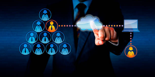 Manager Plugging-In A Remote Freelancer Via Cloud Manager plugging into his team a remotely working female freelancer to share a task with a permanent male employee. Technology concept for outsourcing, casual labor marketplace and mobile computing. outsourcing stock pictures, royalty-free photos & images