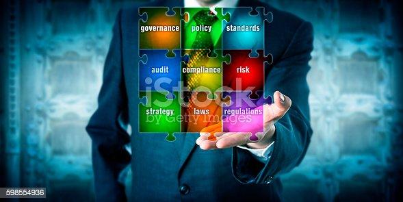 istock GRC Manager Presenting A Virtual Planning Matrix 598554936