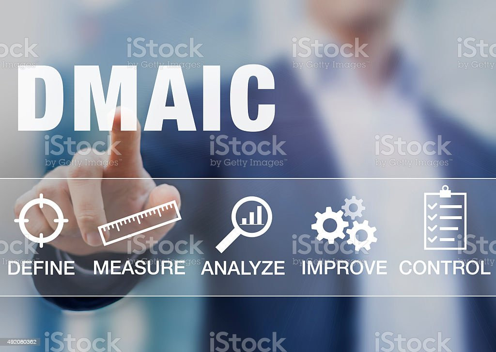 Manager presenting DMAIC continuous improvement tools stock photo