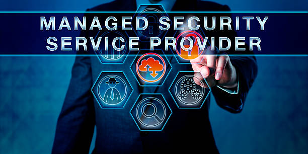 Manager Pushing MANAGED SECURITY SERVICE PROVIDER stock photo
