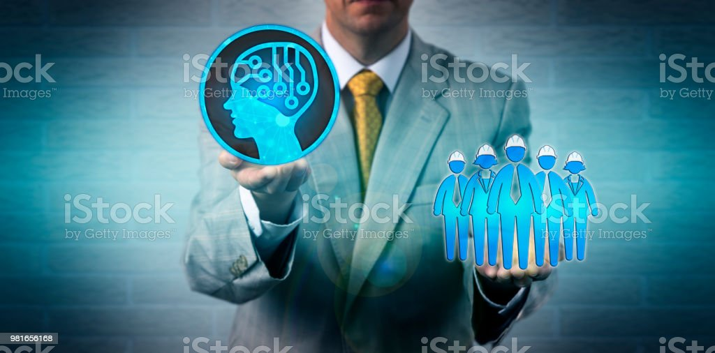 Unrecognizable business manager raising an artificial intelligence...