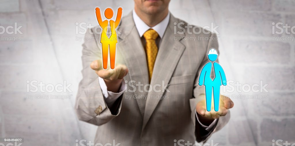 Unrecognizable male manager elevating a cheering white collar worker...