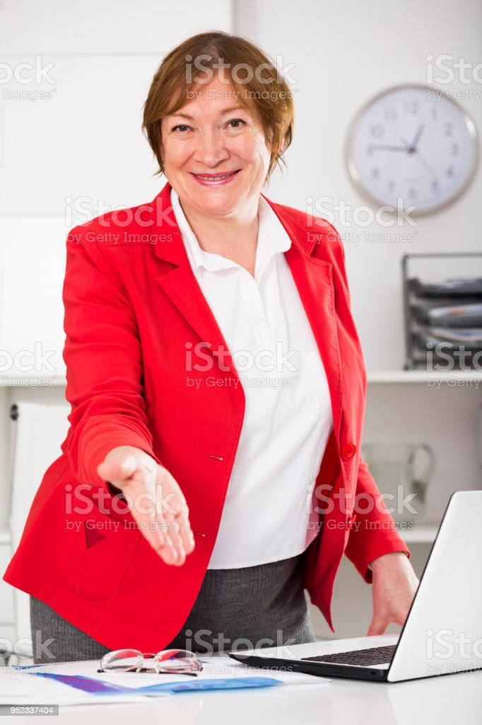 Manager ready for visitors stock photo