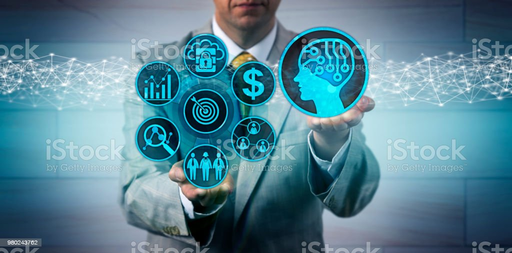 Manager Scaling Up Sales And Marketing Via AI App stock photo