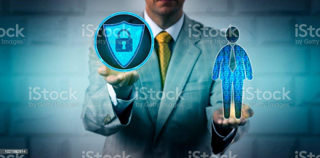 Manager Scanning Employee Data Via Antivirus App stock photo
