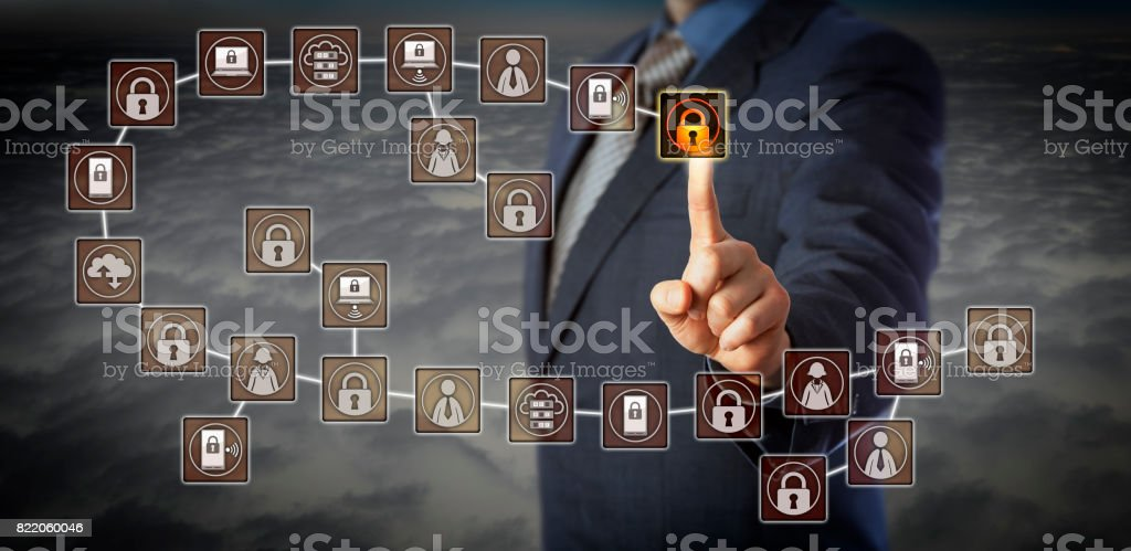 Manager Selecting Most Recent Block In Blockchain stock photo