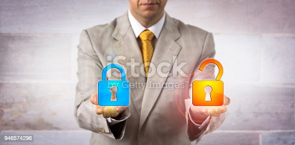 488497362istockphoto IT Manager Showing A Locked And An Open Padlock 946574296