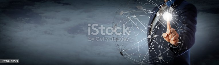 istock Manager Touching Global Network High Above Clouds 825499224