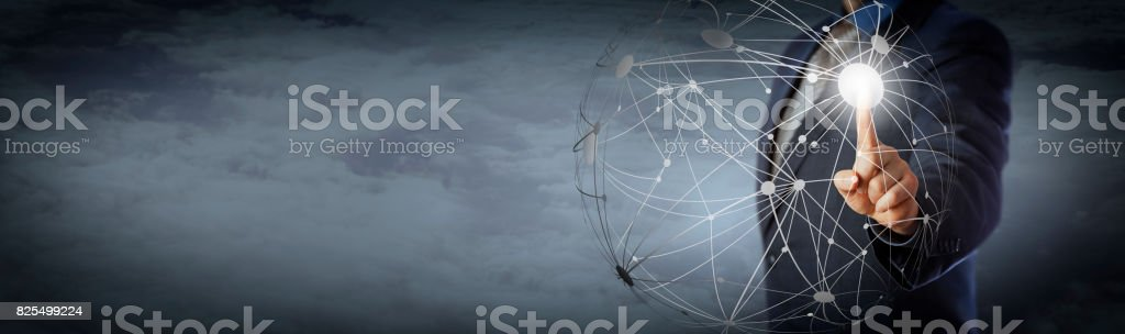 Manager Touching Global Network High Above Clouds stock photo