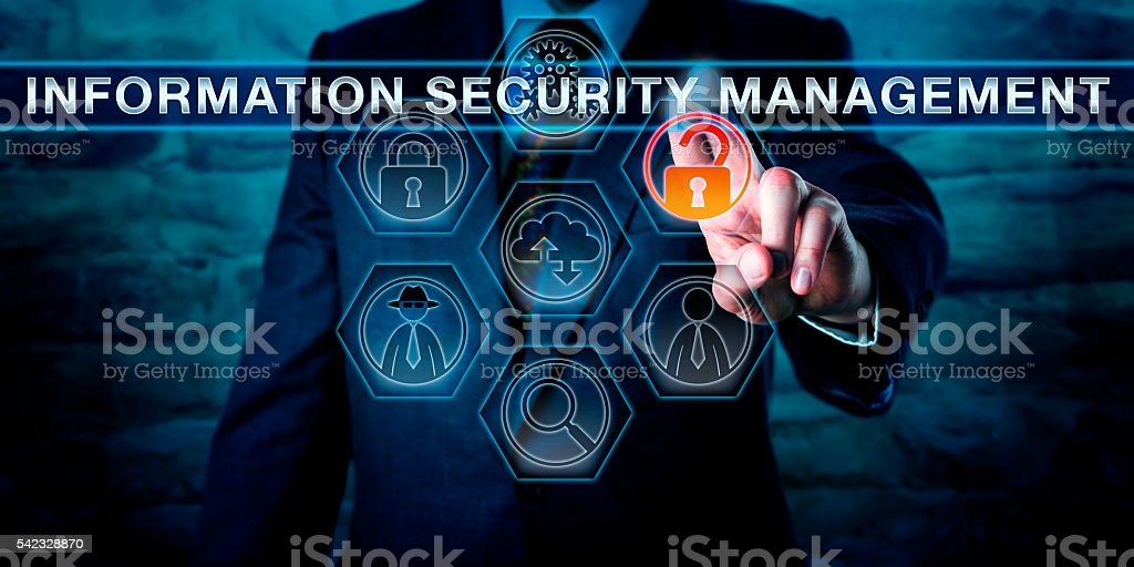 Manager Touching INFORMATION SECURITY MANAGEMENT stock photo