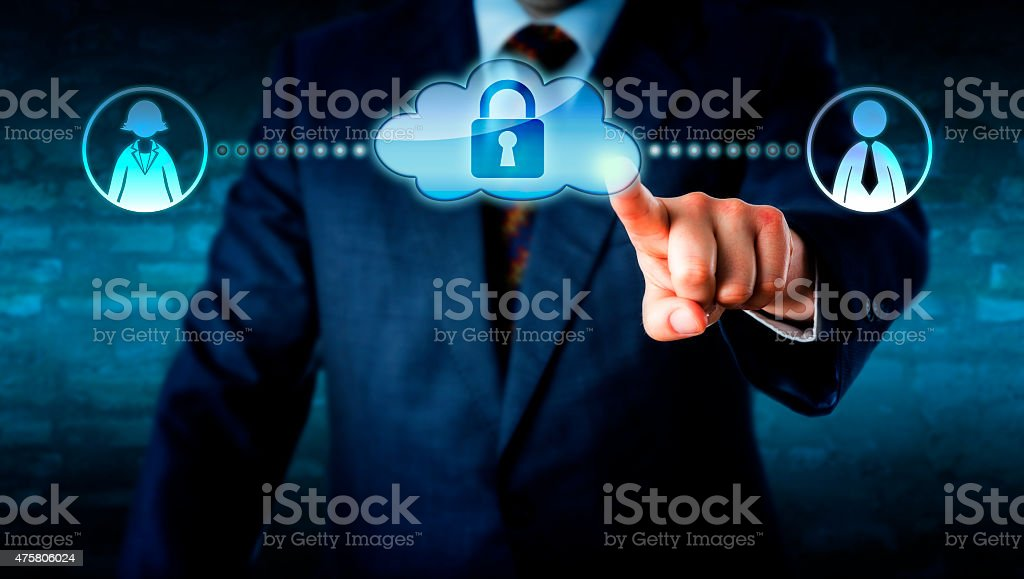 Manager Touching Locked Cloud Linked To Workers stock photo