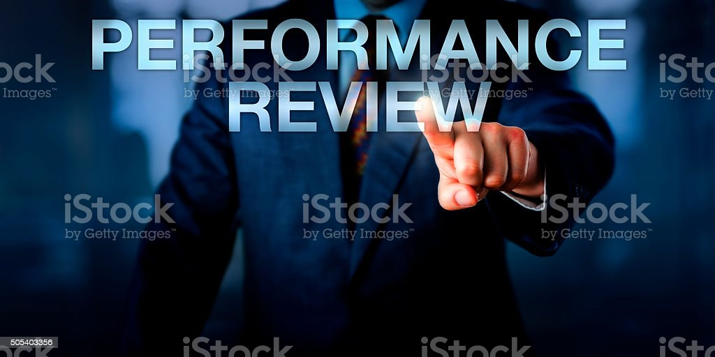 Manager Touching PERFORMANCE REVIEW Onscreen stock photo