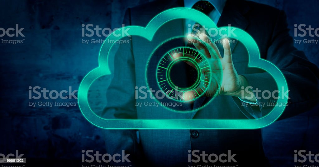 Manager Touching Virtual Dial Lock In The Cloud stock photo
