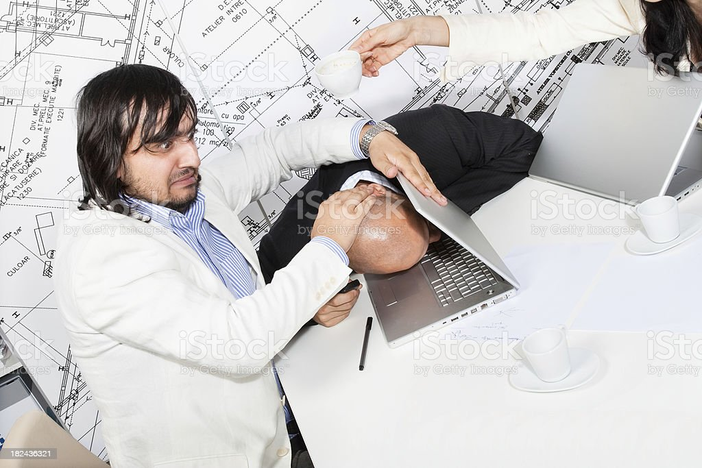 Manager unhappy with his assistant royalty-free stock photo