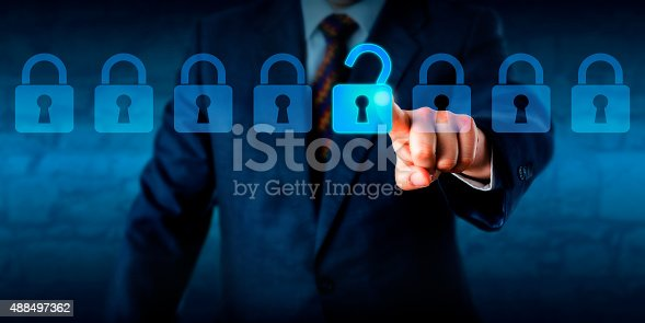 istock Manager Unlocking A Virtual Lock In A Lineup 488497362