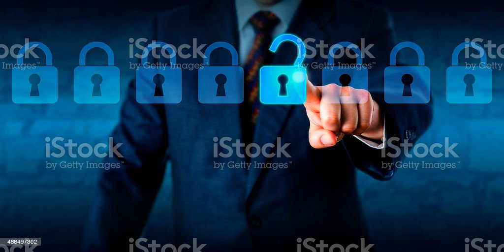 Manager Unlocking A Virtual Lock In A Lineup stock photo