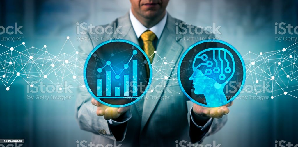 Manager Using AI Platform For Big Data Analysis stock photo