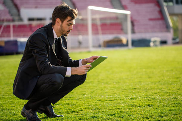 Manager with a digital tablet stock photo