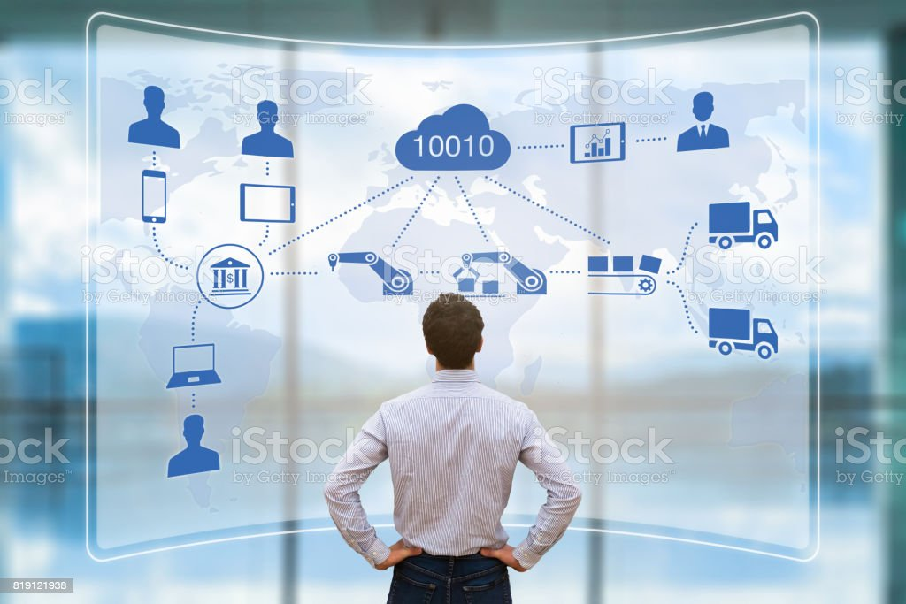 Manager mit AR smart-Fabrik, Industrie, automatisierte Fertigung, cloud-computing – Foto