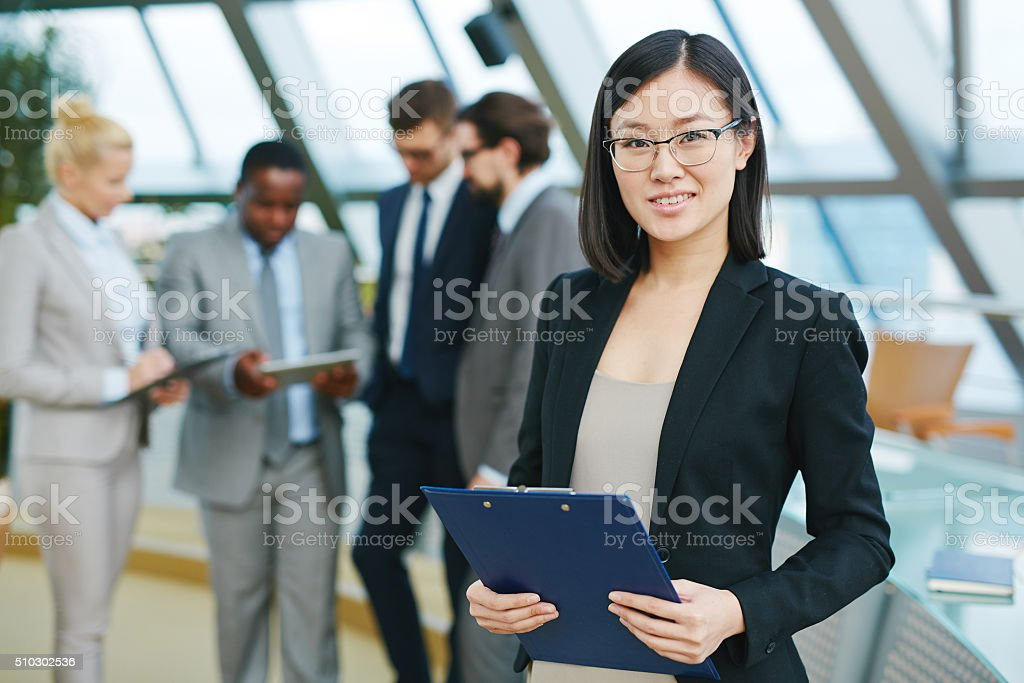 Manager with clipboard stock photo
