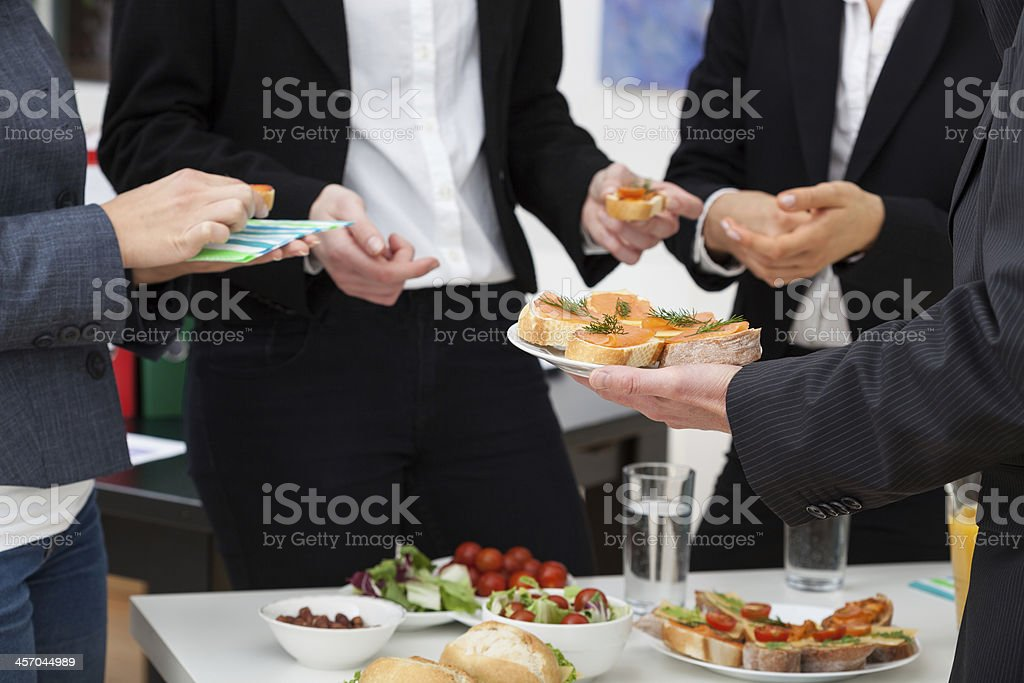 Managers meeting on breakfast stock photo