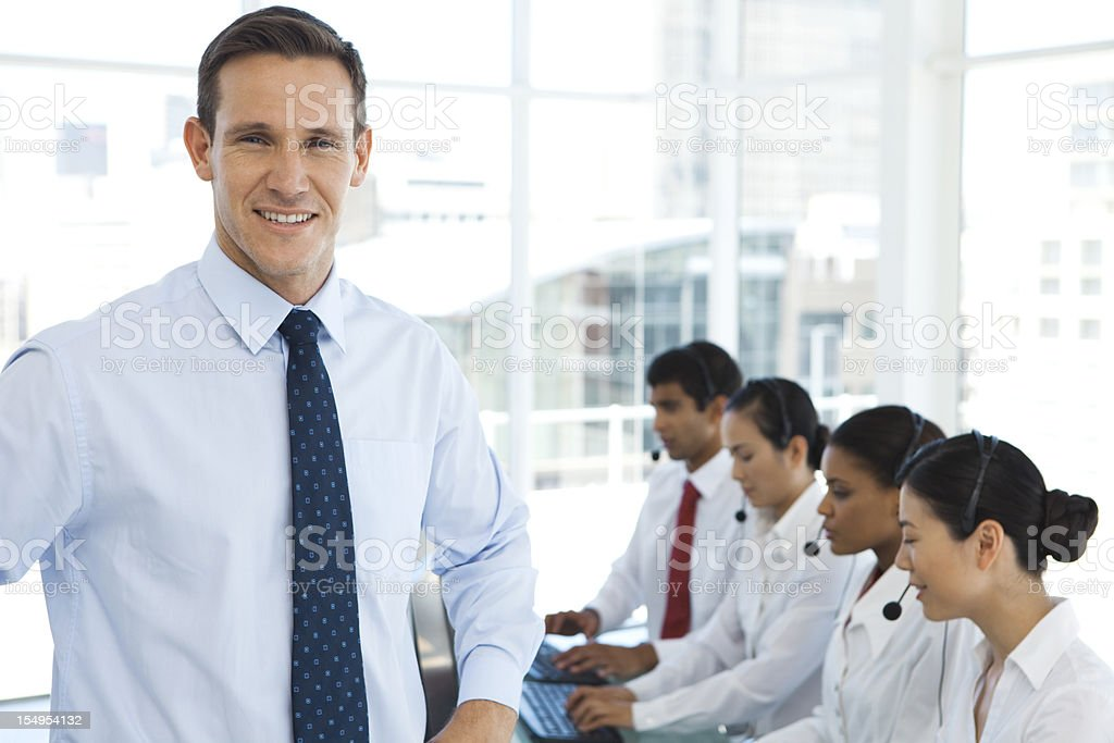 Managing a Call center royalty-free stock photo