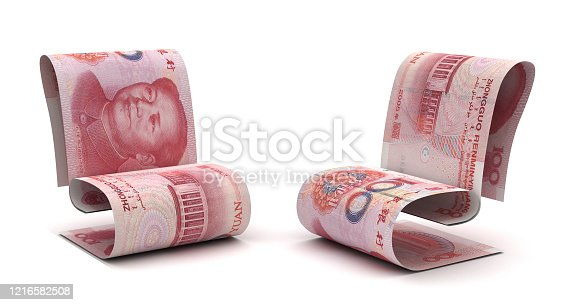 Managing Chinese Yuan (Isolated on white background)