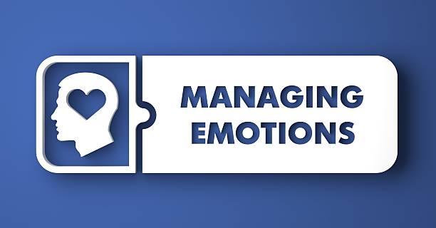 Verwalten von Emotionen auf Blau in flachen Design-Stil. – Foto