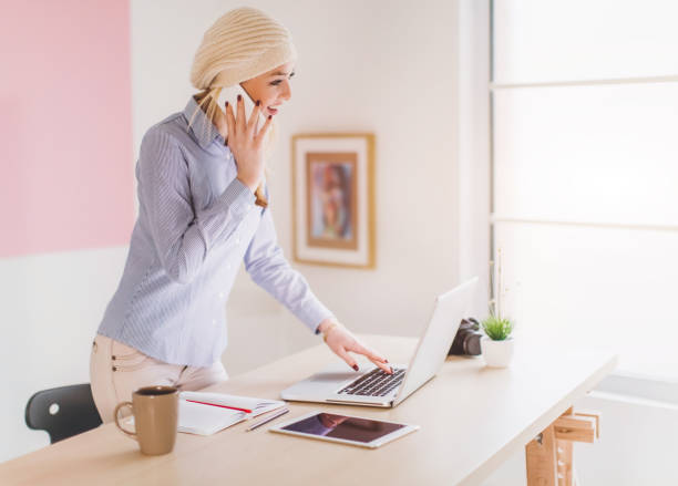 Managing her business stock photo