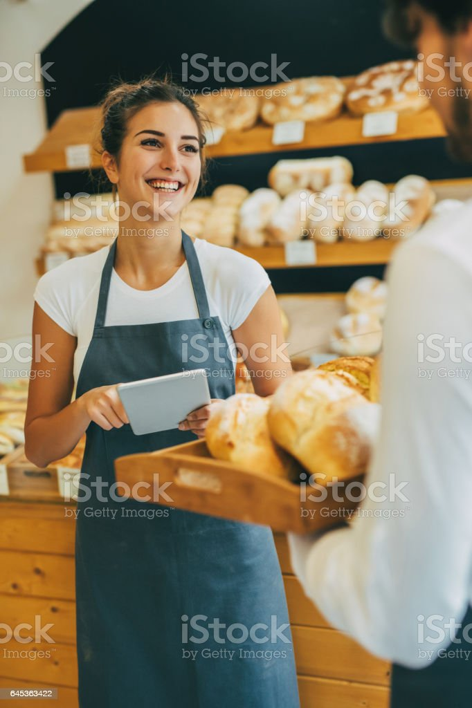 Managing the bakery stock photo