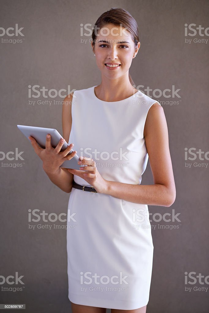 Managing with new technology stock photo