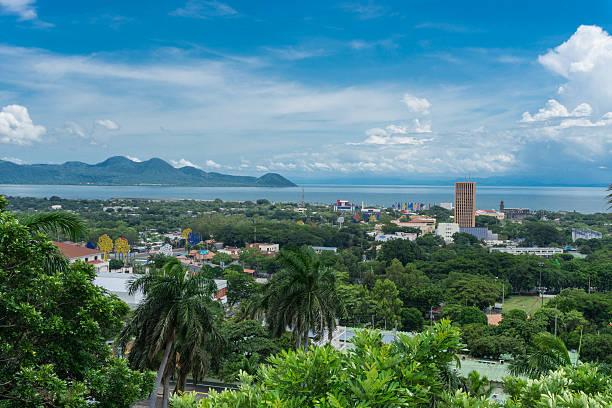 managua view from loma de tiscapa. managua capital of nicaragua. - nicaragua stock-fotos und bilder
