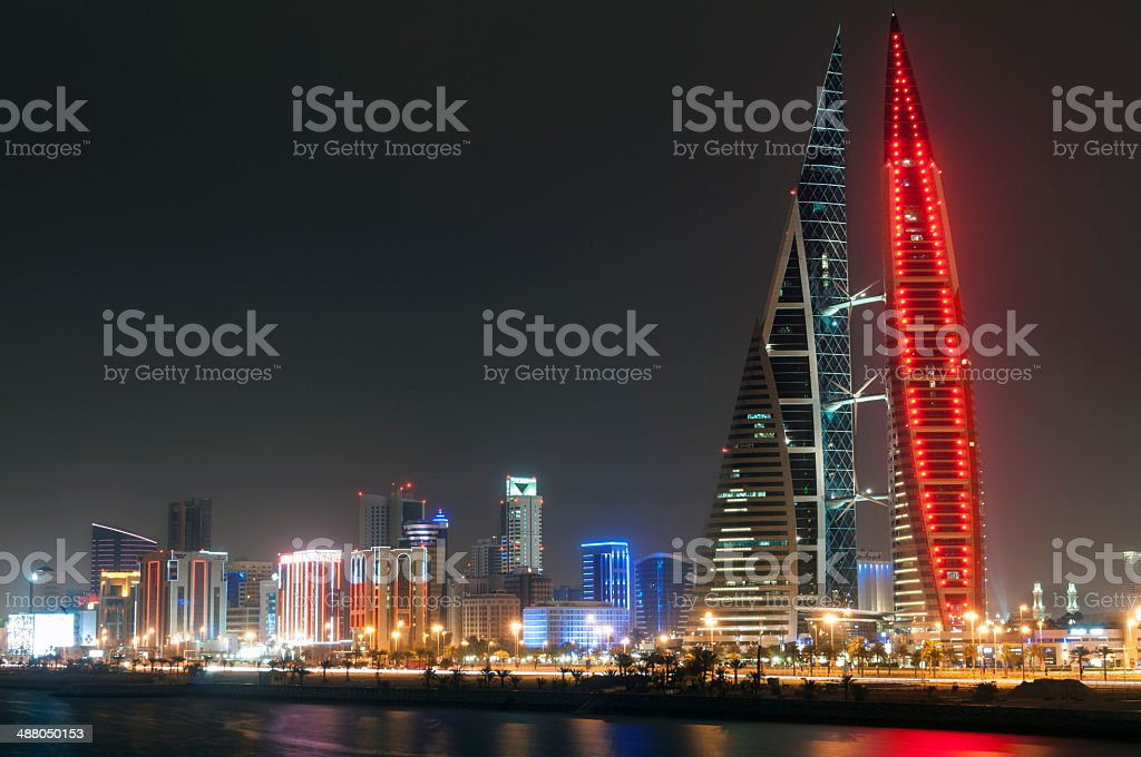 Manama at night stock photo