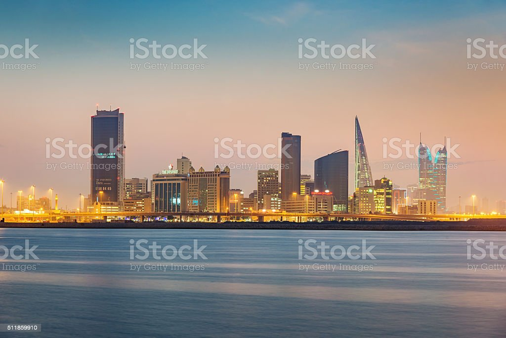 Manama Bahrain Cityscape Twilight stock photo
